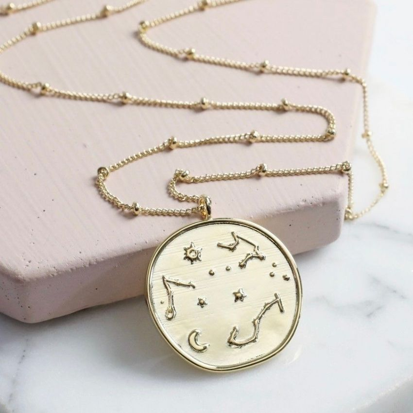 GOLD CONSTELLATION DISC PENDANT NECKLACE
